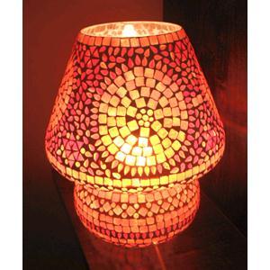 Lampada da tavolo in vetro mosaicato arancione lavorata a mano