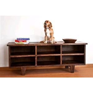 Porta tv colore chiaro in legno massello di acacia consolle e mobili tv india world store - Porta in legno massello ...