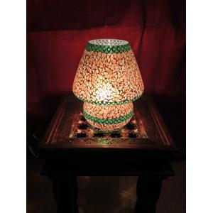 Lampada da tavolo in vetro grande mosaicata arancione con bordo verde ...