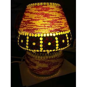 Lampada da tavolo in vetro piccola mosaicata arancione/gialla lavorata ...