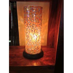 Lampada da tavolo in vetro cilindrica mosaicato rosso arancione ...