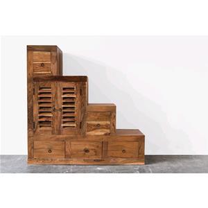 Cassettiera a scalini in legno massello di acacia for Cassapanche in legno prezzi