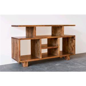 Porta tv in legno massello di acacia chiaro consolle e mobili tv india world store - Porta in legno massello ...
