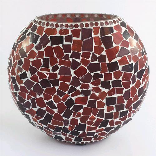 Lampada da tavolo in vetro ovale mosaicata rossa lavorata - Tavolo in vetro ovale ...