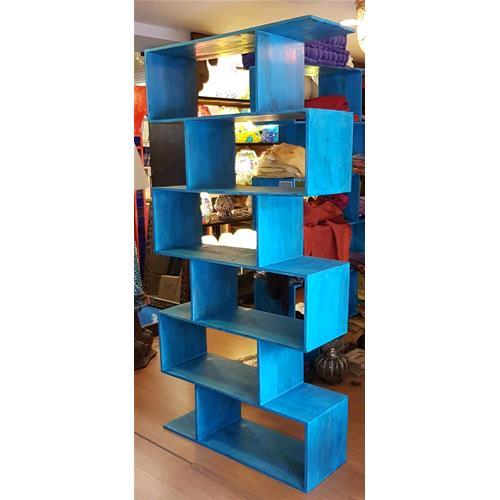 Libreria Zig Zag in legno massello di acacia finitura blu - Librerie ...