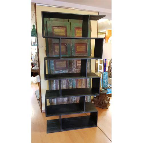 Libreria Zig Zag in legno massello di acacia finitura nera ...
