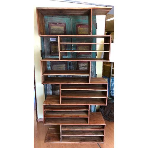 Libreria Zig Zag in legno massello di acacia naturale