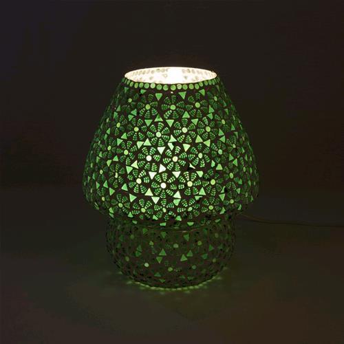 Lampada Da Tavolo In Vetro Mosaicata Fiori Verdi Lavorata A Mano Fungo Grande India World Store