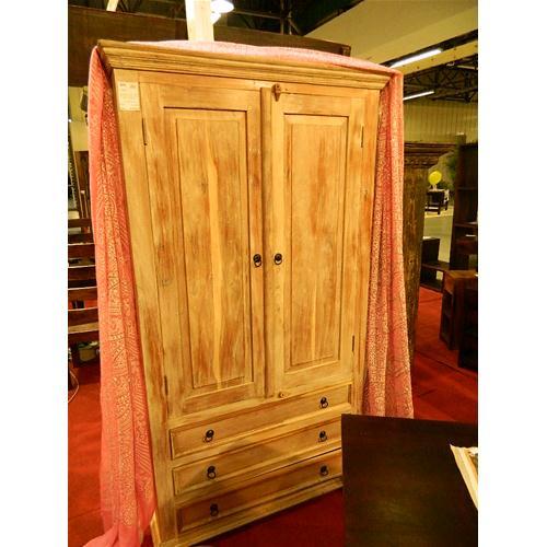Armadio con 3 cassetti e 4 ripiani interni in legno massello di ...