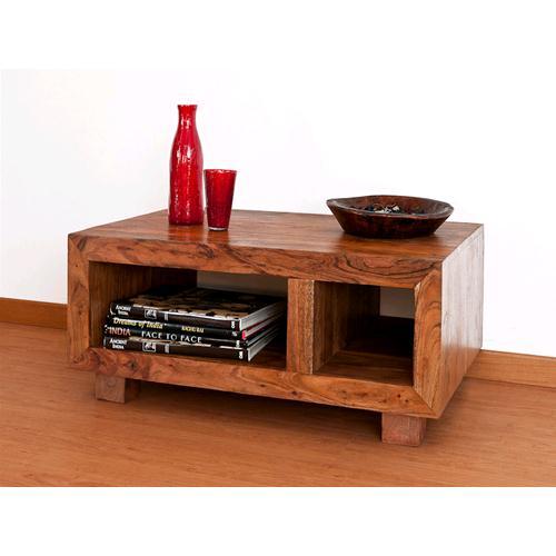 Porta Tv / Tavolino chiaro in legno massello di acacia