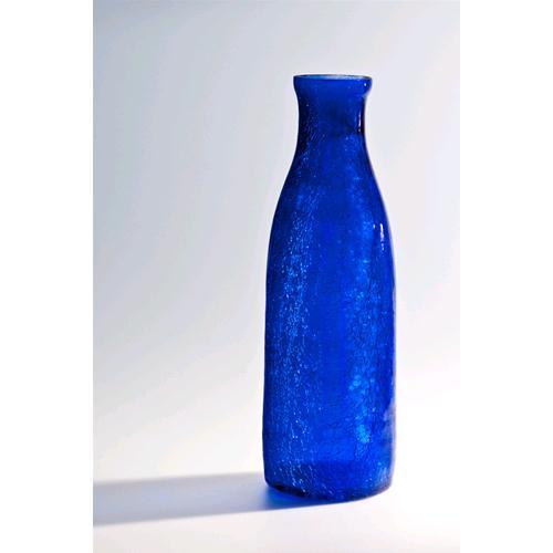 Blue crackle bottle