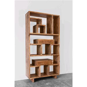 Libreria con 2 cassetti colore naturale in legno massello for Scaffali libreria in legno