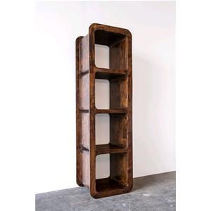 Libreria 4 cubi in legno massello acacia scuro librerie for Cubi in legno per arredare