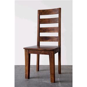 Sedia in legno massello di acacia con schienale alto scura - Sedie e ...