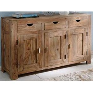 Credenza sheesham in legno massello di palissandro finitura nera ...