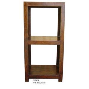 Libreria in legno massello di acacia finitura nera h. 100 cm.