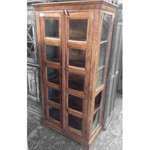 Vetrina in legno massello di acacia con vetri laterali - Vetrine ...
