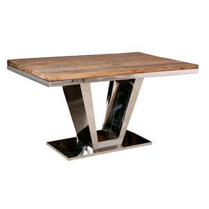 Tavolo Da Pranzo Legno E Acciaio.Tavolo Da Pranzo Steel In Legno Massello Di Palissandro Base A V In Acciaio 150 Cm