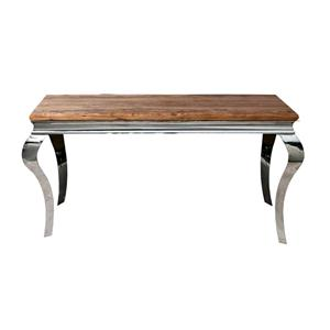 Gambe Legno Per Tavoli.Tavolo Da Pranzo Steel In Legno Massello Di Palissandro Con Gambe Curve In Acciaio 180 Cm