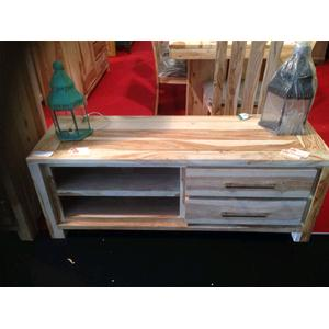 Porta tv in legno massello di palissandro sbiancato consolle e mobili tv india world store - Mobili in legno sbiancato ...