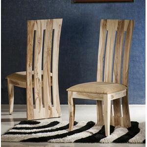 Sedia moderna in legno massello di palissandro sbiancato cuscino chiaro