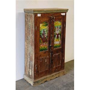 Armadio originale in legno massello di teak con litografia